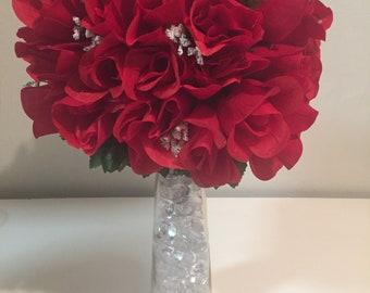Flowers bouquet with acrylic gemstone