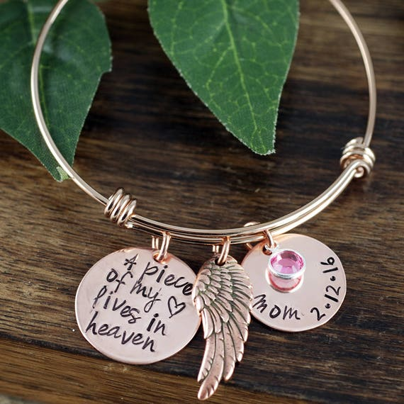 A Piece of my Heart Lives in Heaven, Personalized Memorial Charm Bracelet, Memorial Bangle Bracelet, Remembrance Bracelet, Loss of Child
