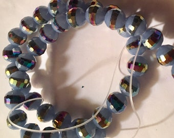 Opaque PERWINKLE BLUE color Faceted round glass beads with metallic iridescent band around middle (12) 10MM unique beads