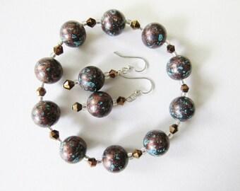 Handmade Elastic Bracelet and Wire Earrings Set Gift Boxed