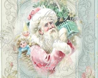 Pink Christmas Shabby Santa Roses Large digital download ECS buy 3 get one free