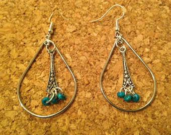 Hoops with turquoise accents