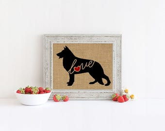 German Shepherd / GSD Love -  Burlap Home Decor Wall Print for Dog Lovers - Farmhouse Style Silhouette - Personalized (More Breeds) (101s)