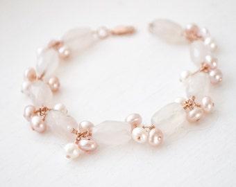 Blush Chalcedony Bracelet, Rose Gold Bracelet, Pink Chalcedony Bracelet