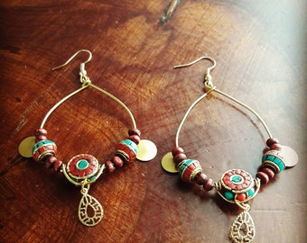 Tibetan style earrings.  Bohemian