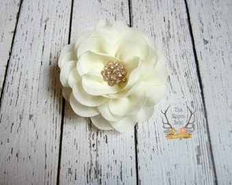 Cream Chiffon Rose Hair Clip - Bridal Flower - Gold Accent - Hair piece - Wedding - Cream Gold - Hair Flower - Bridal Fascinator