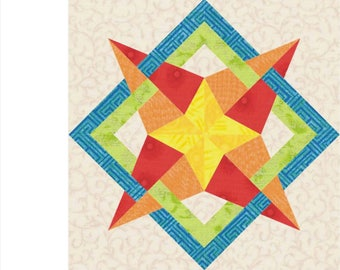 Ribbon star  paper pieced quilt block INSTANT DOWNLOAD PDF pattern