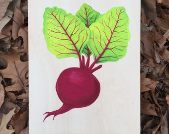 Original gouache painting of a beet on wood