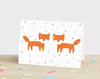 Herzlichen Glückwunsch Karte Feier Karte Fuchs Karte Fuchs Jahrestag Karte Fox Hochzeit Karte Fuchs Engagement Karte Fuchs Konfetti Glückwunschkarte