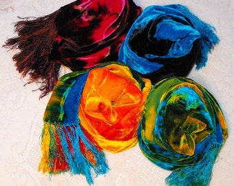 Tie Dye Velvet Silk Scarf -- Your Choice of Colors