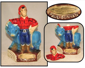 Vintage 1971 Paul Bunyan & Babe the Blue Ox, Royal Halburton Brandy Decanter - EMPTY, liquor bottle