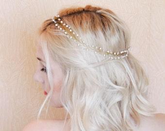 Bridal Hair Vine Wedding Hair Vine Bridal Hair Halo Delicate Gold Headband Pearl Hair Vine Boho Hair Vine Wedding hair piece crystal  vine