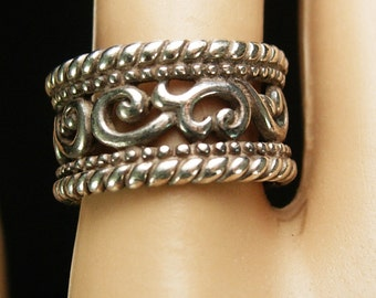 WIDE Ring Wedding Art Nouveau Ring sterling band silver Promise flower ring Birthday gift  womens mens jewelry size 7 1/2 gift for groom