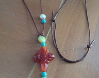 """Carnelian Carved Cross on Brown Leather Adjustable Necklace 22"""" to 32"""" long"""
