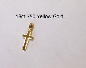 18ct 750 Solid Yellow Gold Crucifix Cross Pendant Jewellery