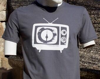"T-Shirt ""TV"" Made in Berlin through screen print"