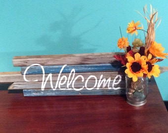 """Rustic """"Welcome"""" Sign with Mason Jar"""