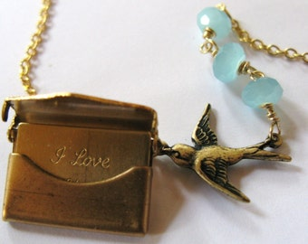 Love from Above Artwark Original  vintage bird envelope locket custom handstamped name or initial message
