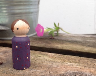 Painted Peg Doll with Subtle Flowers