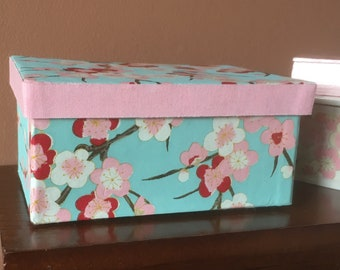 Pink and Blue Cherry Blossom Chiyogami Covered Small Jewelry Box