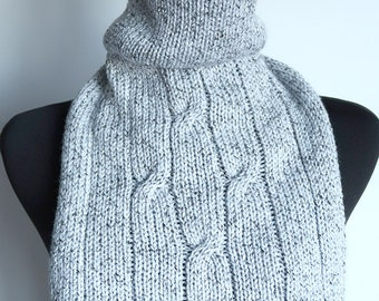 Light Marled Gray White Color Acrylic Soft Yarn Knitted Cables Turtleneck Collar Dickey Gaiter Cowl