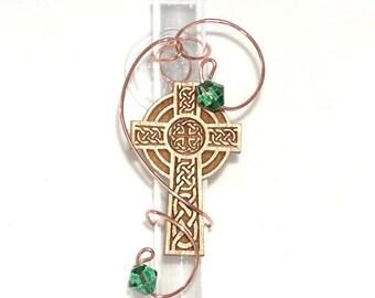 Religious Celtic Cross Glass Suction Bud Vase Window Vase Rooter Vase Crucifix Memorial Vase Funerary Crematory Cemetery