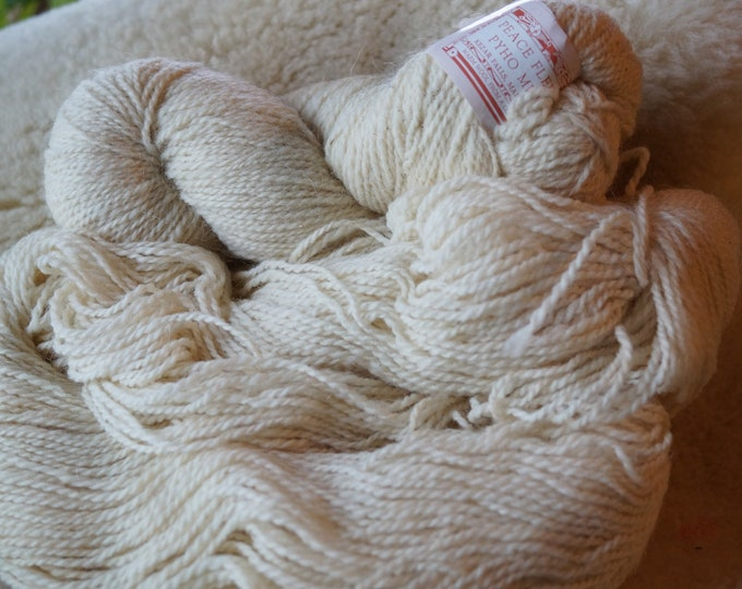 sport weight: Antartic White  wool & mohair Peace Fleece sale yarn