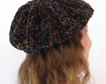Knit Hat Kaleidoscope Chenillle Tam Beret Adult