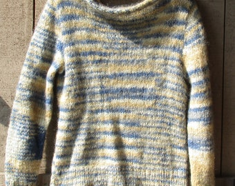 Vintage Handknit Sweater - Mohair Pullover, Blend of Blue, Tan, and White, Stocking Stitch, Boat Neck, Casual Sweater