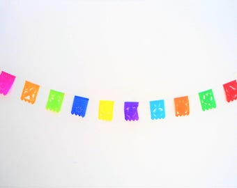 super mini papel picado, very small mexican banner, rectangle bunting, mexican party decor, mini papel picado, rectancular XXS