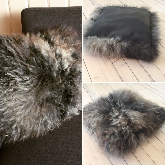 Exclusive cushion handmade Sheepskin and suede pillow grey gray delicate and soft from Norwegian pelt sheep