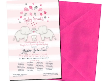Baby Sprinkle Invitation Elephant Sprinkle Invitation Pink Glitter Sprinkle Baby Invitation