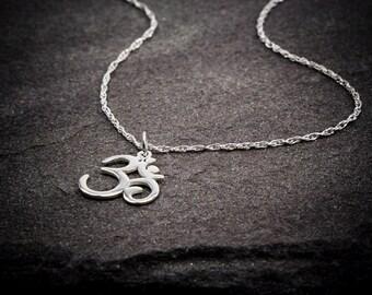 Om Necklace, Ohm Necklace,  Sterling Silver Necklace, Yoga Jewelry Necklace, Yen Jewelry,  Om Ohm chain