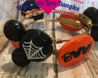 Disney Inspired Halloween Mickey Mouse  Wire Wrapped Bangle Bracelet Set *Bourbon and Boweties Inspired*