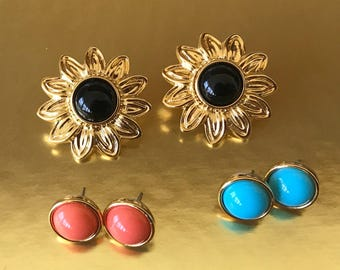 Collectable Joan Rivers Big Flower Pierced Earrings With Three Interchangeable Studs