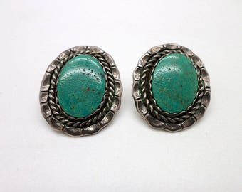 Vintage D. Cooke Sterling Silver Turquoise Southwest Style Earrings