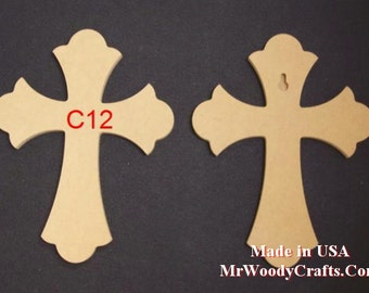"""5 12"""" x 16"""" 1/2"""" thick Unfinished Wooden Crosses, Choose from 8 different styles, Ready to Paint, w/key holes. 121650-5"""