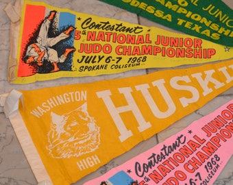 Felt Pennants, Judo Competition Pennants, Washington Husky Pennant