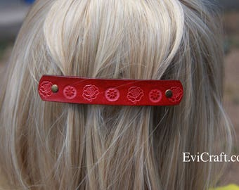 Red Roses Leather French hair barrette, Handmade Tooled Leather Hair Clip, Hair Accessory, flower, Ponytail Holder
