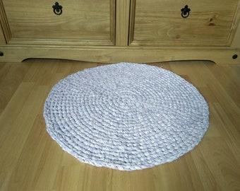 Mottled Mauve Handmade Crocheted Round Rag Rug, Eco Friendly, Upcycled, Eco Rug.