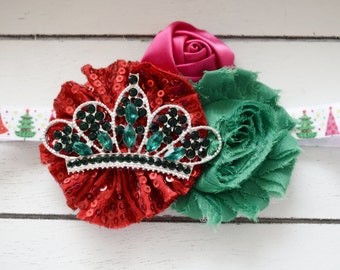 Handcrafted Emerald Tiara Christmas Tree Headband - Sparkly Headband - Red Hot Pink and Green Bow - Baby Girl Christmas Headband - Toddler