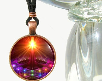 "Chakra Necklace, Yoga Jewelry, Reiki Energy Art Pendant ""The Protector"""