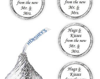 108 hugs and kisses from the new mr and mrs favors for kisses stickers decals labels , (candy not included)