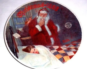 Knowles Norman Rockwell Collectors' Plate Deer Santy Claus - 1986 Limited Edition Christmas Plate