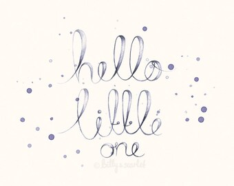"Baby Girl Nursery Decor - 8x10 / A4 Shabby Chic ""Hello Little One"" Art Print, Neutral Nursery Decor With Handwritten Typography"