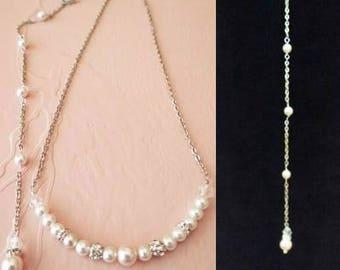 Back Drop Pearl Necklace Bridal Back Jewelry Wedding Back Necklace Swarovski Pearl Crystal Bridal Necklace Pearl Back Chain Bridesmaids
