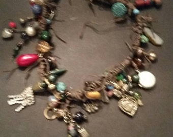 Vintage Charm Necklace Handmade Boho Dangle Costume Jewelry