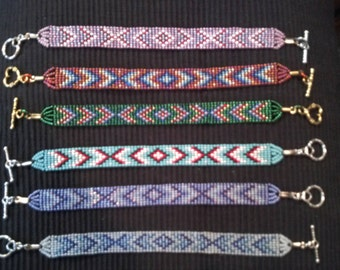 Diamond Pattern Beaded Loom Bracelet