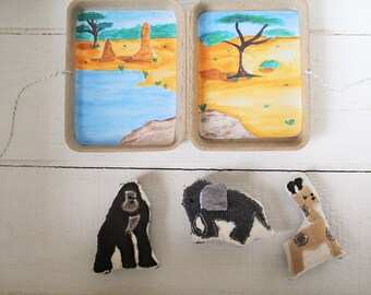 African animals, travel toy,  eco friendly gift, stuffed animals, pretend play, plushie, story stones, miniature toy