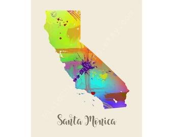 Santa Monica California Santa Monica Map Santa Monica Print Santa Monica Poster Santa Monica Art Santa Monica Gift Santa Monica Wall Decor